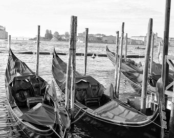 Fine Art photography, covered gondolas in Venice, Italy, black and white, 8x12 shown, 8x10 available