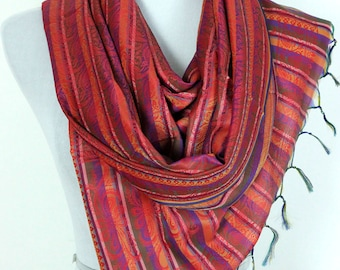 Striped Print Scarf (Red)