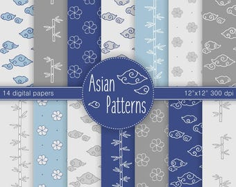 Dusty Blue Asian Patterns Digital Scrapbook Paper, 14 PNG 12x12, cloud, bamboo, floral hand drawn pattern, dusty blue, gray INSTANT DOWNLOAD