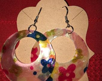 Pink Capiz Shell 2 inch earrings