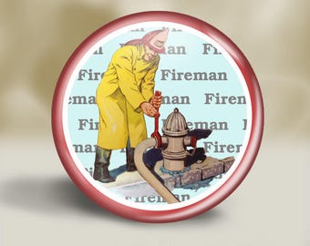 Retro Fireman Pin or Magnet, 2.25 Inch, Gift for Dad