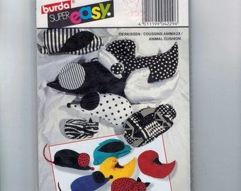 Craft Sewing Pattern Burda 4229 Super Easy Animal Cushion UNCUT