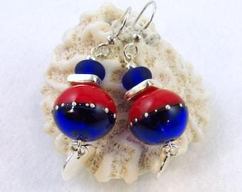 SPUNKY  Artisan Lampwork Glass and Silver Earrings (ER103)