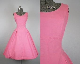 1950's Pink Sail Cloth Cotton Sun Dress / Size Small Medium