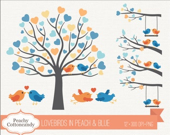BUY 2 GET 1 FREE Lovebirds Clipart in Peach Blue - Love birds clip art - Love bird wedding clipart, valentine clipart - Commercial Use ok