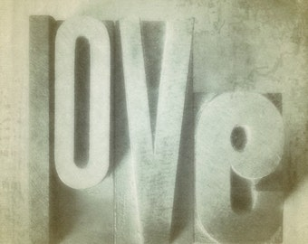 Love Photo Print 5x5 Vintage Letterpress Wood Blocks Photograph Neutral Colours Cottage Chic Home Decor Wall Picture Valentine's Day
