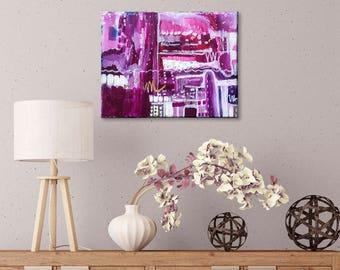 Colourful abstract art ,original wall art, living room decor, Magenta Gold wall art 16x20 Abstract Painting, Hot Pink Paintings, Pink Wall