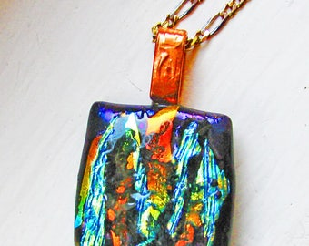 Fire and Ice Dichroic Glass - Fused Glass Pendant / Necklace