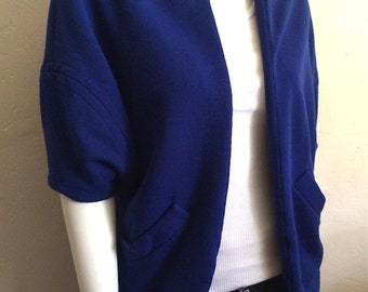 Vintage Women's 60's Coat, Blue, Fully Lined, Couture by Sydney North (M/L)