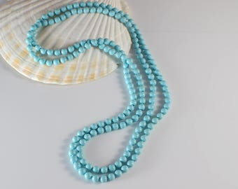1960s Long Small Round Smooth Popper Beads Pastel Blue Beaded Plastic Bead Necklace