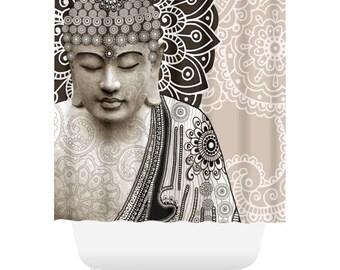 Paisley Buddha Shower Curtain - Tan and Brown Buddhist Bath Curtain - Zen Bathroom Decor - Meditation Mehndi by artist Christopher Beikmann