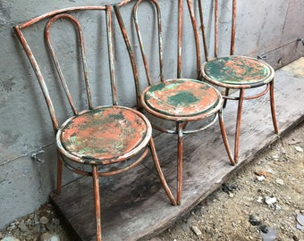 Set Of TWO (just 2) Art Deco French Vintage Industrial Modernist Metal Bistro  Chair
