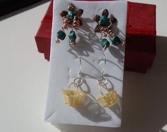 2 Pairs Pierced Earrings, 1 pair on Sterling Silver Post, 2nd pair on Sterling Silver Ear Wires, Hand Crafted