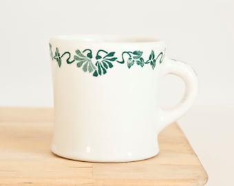 "Heavy Shenango Coffee Mug, ""Seconds"" 1900s Green Flower Vine Cup, Ironstone Restaurant Ware, Newcastle PA"