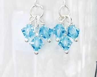 Aquamarine Swarovski Crystal Cluster Beads Earrings