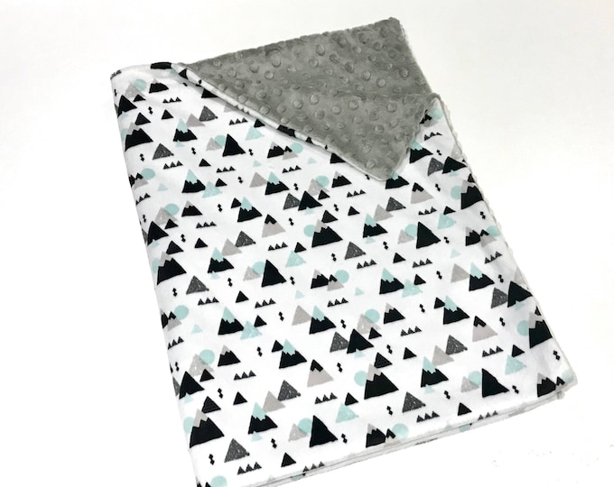 Featured listing image: Mountains Baby Boy Blanket, Baby Boy MINKY Blanket, Minky Baby Blanket, Grey and Mint Mountains Baby Blanket, Ready to Ship Baby Boy Blanket