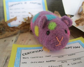Hamster needle felted toy or collectible purple with multi color spots guinea pig