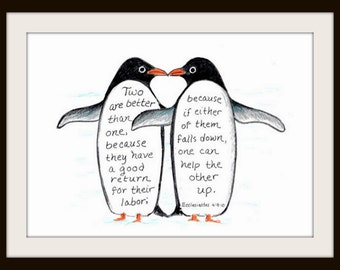 Penguins Love, Bible Verse art print, scripture design, hand lettered typography, wall art decor