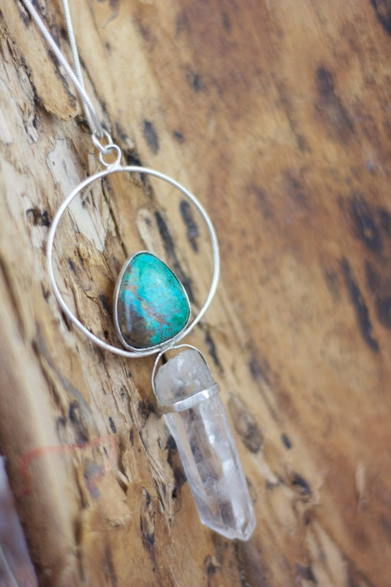 CHRYSOCOLLA & QUARTZ NECKLACE - Sterling Silver Necklace - Quartz Necklace - Chakra Jewellery - Bohemian Jewellery - Crystals