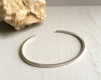 Brushed sterling silver cuff, Thin silver cuff bracelet, Silver stackable cuff, Stacker cuff, Skinny cuff, Matte silver, Minimalist bracelet