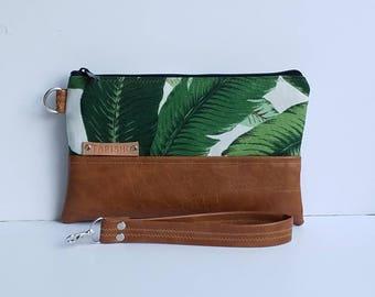Palm Leaf Clutch Bag/Vegan Leather Wristlet Clutch Bag/Faux Leather Clutch Bag/Iphone Wristlet Wallet/Women Clutch Purse/Everyday Purse