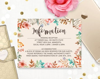 Printable Birthday Party Accommodations Card, Watercolor Floral Wedding Info Card, Directions Boho Pink and Ivory Watercolor digital files.