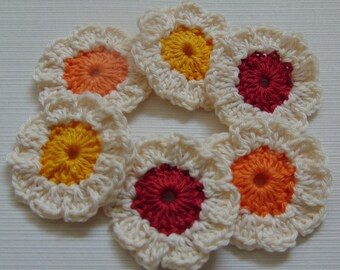 Set of 6 handmade crochet flowers