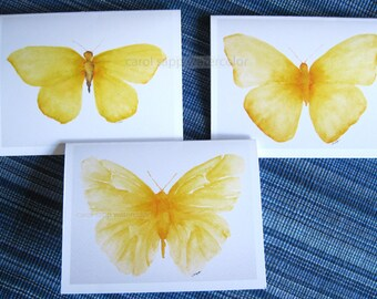 yellow butterfly note cards-watercolor butterflies-butterfly art-butterfly painting-carol sapp-note card set-blank cards-art cards