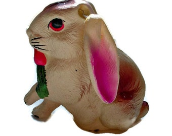 Vintage Celluloid Bunny, Hard Plastic Easter Bunny, Made in Japan, 1930s Easter Decoration, Vintage Plastic Rabbit, Movable Ear Bunny