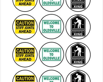 Edible Over the Hill Signs Birthday Cupcake Cookie Cupcake Toppers
