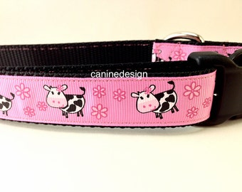Dog Collar, Cows ,1 inch wide, adjustable, quick release, metal buckle, chain, martingale, hybrid, nylon