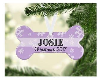 Personalized Pet Christmas Ornament, Porcelain Christmas Ornament, Dog Bone Christmas Ornament, Christmas Gifts, Animal Christmas Ornament