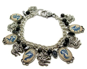 Dragon Charm Bracelet - Silver Dragon Bracelet -  Dragon Jewelry - Dragon Jewellery - Dragon Gift