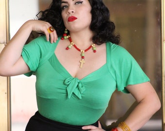 1940s style sailor top vintage style XS to XL rayon jersey with flutter sleeve green