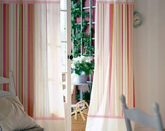 Pair of 84L 46W inch Custom curtains Baby room / Kids room Pink stripes cotton