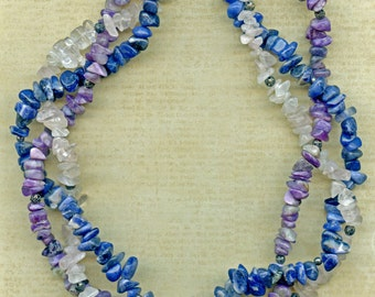 Charoite, Sodalite and Rose Quartz Triple-Strand Necklace