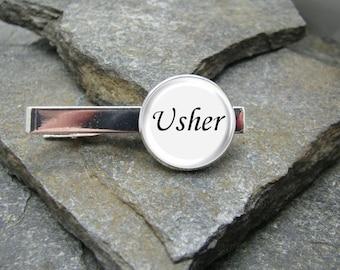 Usher Tie Clip, Gold or Silver Tie Clip, Usher Tie Bar