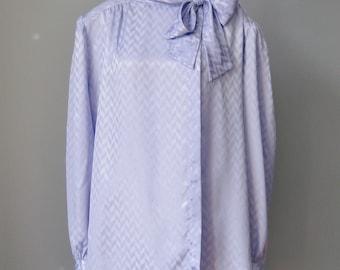 Secretary Blouse  / Vtg 80s /  Josephine Woman NOS Lavender Bow Blouse w Long Sleeves