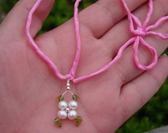 LOTUS BLOSSOM COLLECTION - Interchangeable myBouquet Beaded Floral Design - Genuine GRADE A White Pearl and Etched Peridot Leaves Flower Pendant in Sterling Silver with Your Choice of 3 Hand-Died Silk Chords- Shown in PINK - Perfect Gift for Wedding Party