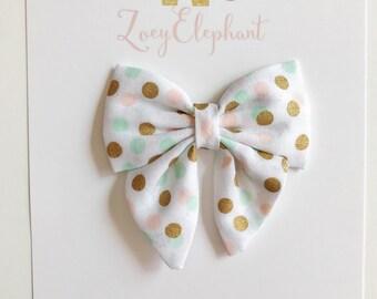Gold Polka Dot Sailor Bow, Baby Headband, Fabric Bow Headband, Non Slip Clip, Nylon Headband, Girl Headband, Newborn Headband