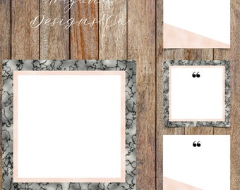 Dark Marble and Pink Foil Instagram Quotes Template Pack | Instaquotes, Social Media Design, Social Branding | Instant Download