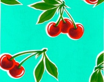 Round Cherry Aqua Oilcloth Floor Mat Splat Mat or Tablecloth