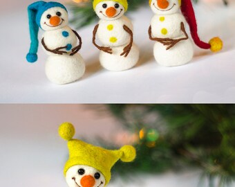 RESERVED For Sonoco Set of 3 felted snowman figurines Christmas decorations Christmas tree ornaments Christmas home decor