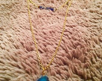 Multi strand blue agate necklace