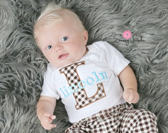 Newborn Baby Boy Clothes Brown and Blue Bodysuit with Hat and Pants Options Personalized Baby Boy Newborn Boy Take Home Outfit Baby Gift