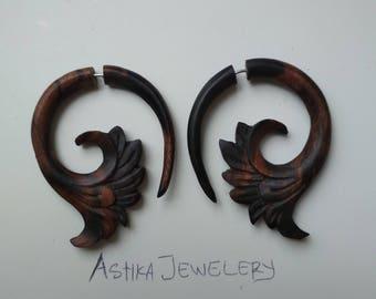 Fake Gauge Flourish Hoop Earrings, Sono Wood, Tribal Style, Handmade, Beautiful Fake Wooden Gauge