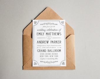 Wedding Invitation Template - Printable Wedding Invitation - Editable Wedding Template - Instant Download - Hyacinth Collection