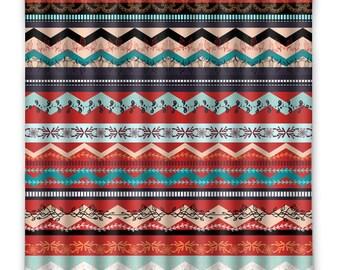 BOHO Chic Gypsy Hippy Shower Curtain - Shower Curtain - Floral Tribal Shower Curtain - Bathroom Decor