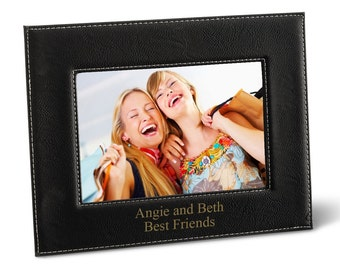 Personalized Black 5x7 Picture Frame - Personalized Leather Frame - Black Picture Frame - 5x7 Picture Frames - Housewarming Gifts - GC1361