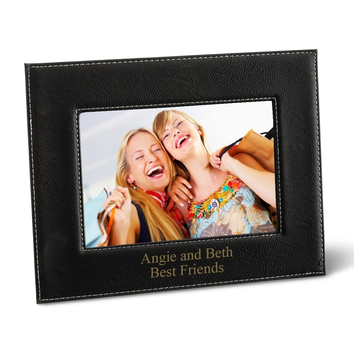 Personalized black 5x7 picture frame personalized leather zoom jeuxipadfo Image collections